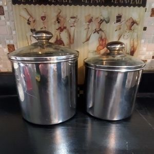 Set of 2  stainless steel canisters, glass lids,